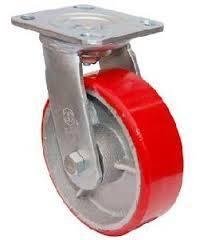 """גלגל PU אדום 6"""" פלטה מסתובב"""