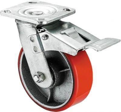 """גלגל PU אדום 6"""" פלטה מעצור"""